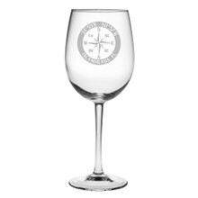 Custom Coordinates Compass Rose NSEW Large Wine Glasses Set of 4