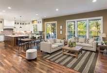 Hang Ten Slate and Ivory Stripe Horizons Rug larger room view
