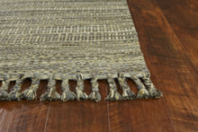 Slate Mission Homespun Area Rug fringe detail