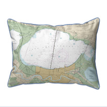 Lake Pontchartrain and Majrepas, LA Nautical Map 20 x 24 Pillow