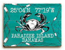 Custom Coordinates Crab in Net Sign - Sea Aqua