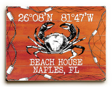 Custom Coordinates Crab in Net Sign - Orange