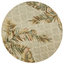 Palm Mosaic Tropical Wool Area Rug round image