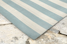 Water Blue Woven Wide Striped Rug corner image