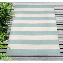 Water Blue Woven Wide Striped Rug deck
