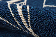 Navy and White Sailboat Sketch Rug close up