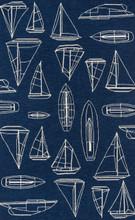Navy and White Sailboat Sketch Rug main image