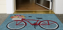 Go for a Bike Ride Blue Rug floor view