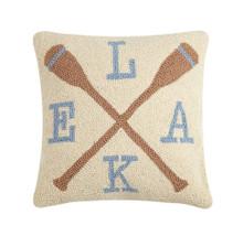Lake Oars Wool Hooked Pillow