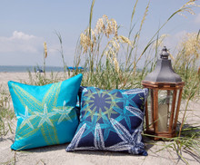 Lime and Aqua Starfish Luxury Pillow with Troca Shell Pillow