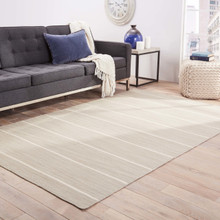 Coastal Shores Taupe Striped Wool Rug room view