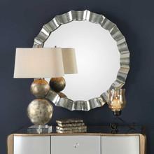 Atlantic Scalloped Silver Round Mirror room view