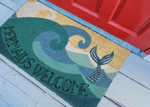 24 x 36 floor view Mermaids Welcome Natura Coir Door Mat