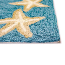 Capri Starfish Border Aqua Rug pile close up image
