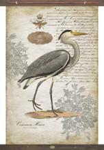 Heron Facing Right Vintage Canvas Tapestry Wall Art