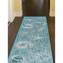 Aqua Carmel Shells Rug hallway image