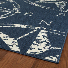 Navy Compass Rose Indoor-Outdoor Area Rug corner