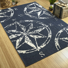 Navy Compass Rose Indoor-Outdoor Area Rug room image