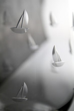 Sailing Etched Martini Glasses - Set of 4 sailing images close up