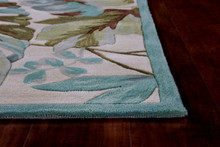 Ivory and Turquoise Tropica Area Rug corner