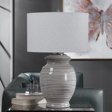Sea Striped Navy and White Table Lamp room view