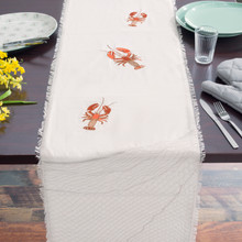 Lobster Net Embroidered table runner