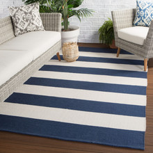 Remora Navy Blue Striped Rug outdoor room image
