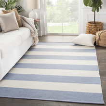 Remora Eventide Blue Striped Rug room image