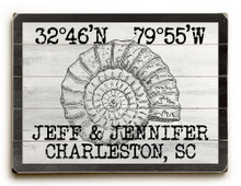 Custom Coordinates Vintage Shell Beach Sign