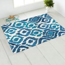 Blue and Turquoise Ikat Accent Rug room view 1
