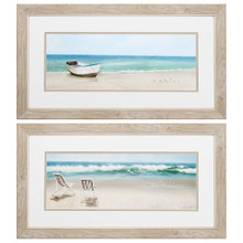Low Tide View Framed Images - Set of Two