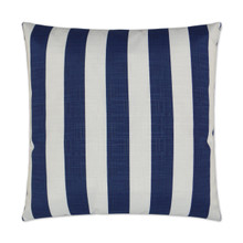 Classic Navy and White Cabana Striped Outdoor Lux Pillow