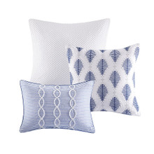 Ocean Blue Coastal Farmhouse Comforter Queen Set deco pillows