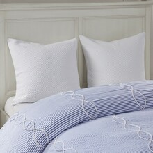 Ocean Blue Coastal Farmhouse Comforter Queen Set close up 1