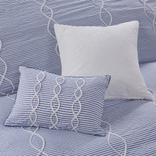 Ocean Blue Coastal Farmhouse Comforter Queen Set close up 2