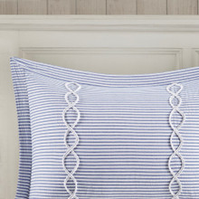 Ocean Blue Coastal Farmhouse Comforter Queen Set shams close up