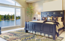 Tropical Pastel Palm Wool Area Rug  room view
