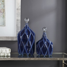 Wave Geometric Deep Blue Accents room view