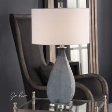 Ocean Blue Atlantica Glass Table Lamp - lit