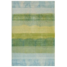 Textured Stripes Sea Breeze Wool Area Rug