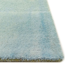 Textured Stripes Sea Breeze Wool Area Rug corner