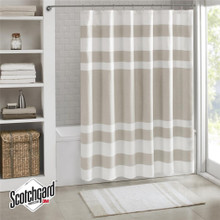 Spa Taupe Striped Shower Curtain