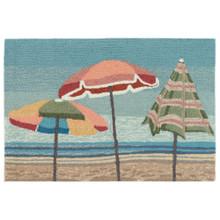 Aqua Beach Umbrellas Accent Rug main image