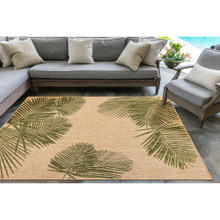 Carmel Tropical Green Palm Rug room view