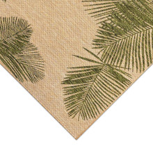 Carmel Tropical Green Palm Rug corner