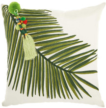 Royal Palm Embroidered Palm Throw Pillow - Left Tassel