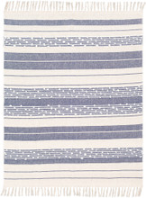 San Onofre Navy and Cream Woven Throw view 1