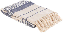 San Onofre Navy and Cream Woven Throw