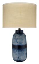 Large Batik Table Lamp in Indigo Ceramic