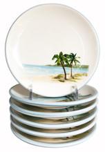 Palm Breezes Canape' Plates - Set of 6   Caron's Beach House